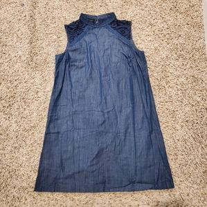 Denim shirt with lace neck